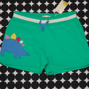 NWT Mini Boden Green Dinosaur Applique Shorts 11